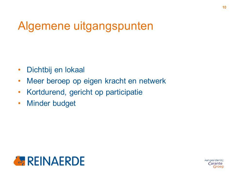 Aangesloten bij: Algemene uitgangspunten Dichtbij en lokaal Meer beroep op eigen kracht en netwerk Kortdurend, gericht op participatie Minder budget 1