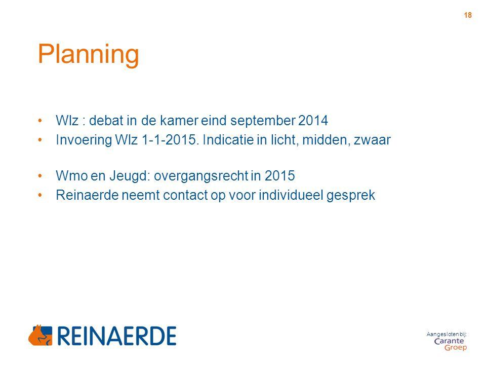 Aangesloten bij: Planning Wlz : debat in de kamer eind september 2014 Invoering Wlz 1-1-2015. Indicatie in licht, midden, zwaar Wmo en Jeugd: overgang