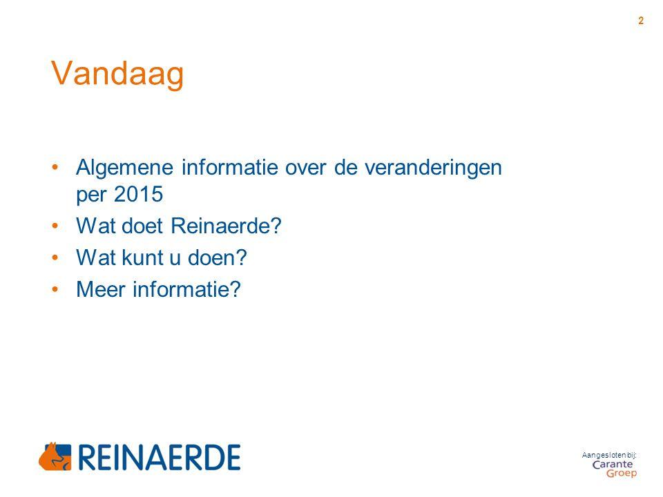 Aangesloten bij: Vandaag Algemene informatie over de veranderingen per 2015 Wat doet Reinaerde? Wat kunt u doen? Meer informatie? 2
