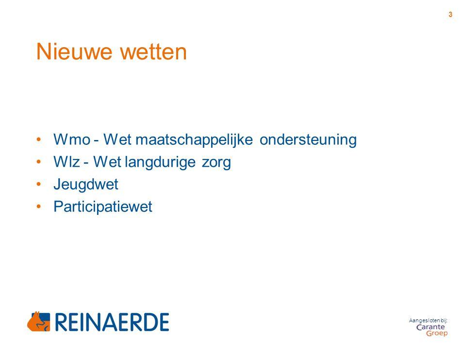 Aangesloten bij: Nieuwe wetten Wmo - Wet maatschappelijke ondersteuning Wlz - Wet langdurige zorg Jeugdwet Participatiewet 3