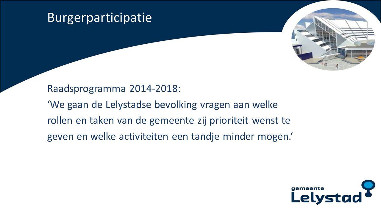 Burgerparticipatie Raadsprogramma 2014-2018: 'We gaan de Lelystadse bevolking vragen aan welke rollen en taken van de gemeente zij prioriteit wenst te
