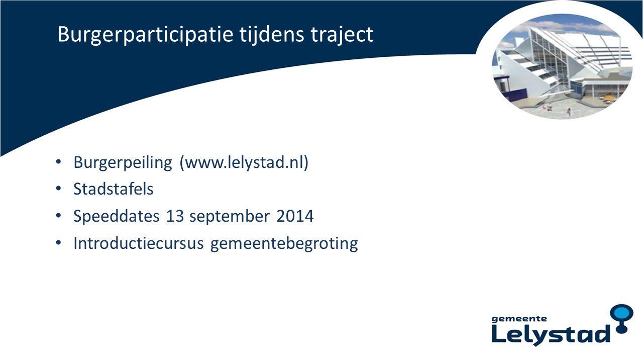 Burgerparticipatie tijdens traject Burgerpeiling (www.lelystad.nl) Stadstafels Speeddates 13 september 2014 Introductiecursus gemeentebegroting