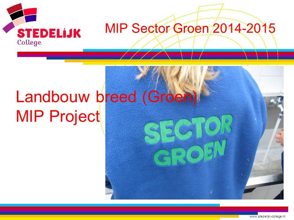 www.stedelijk-college.nl MIP Sector Groen 2014-2015 In de vier volgende dia's : Voorbeelden van deeltaken uit het curriculum die onze leerlingen denken te gaan doen op de verschillende bedrijven.