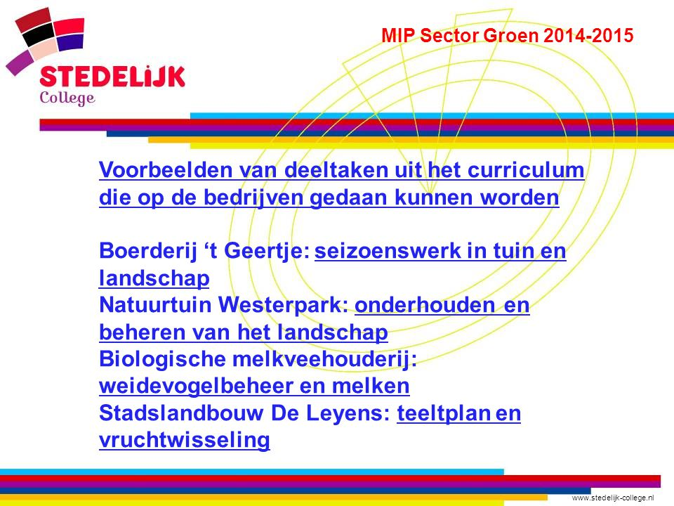 www.stedelijk-college.nl MIP Sector Groen 2014-2015 Voorbeelden van deeltaken uit het curriculum die op de bedrijven gedaan kunnen worden Boerderij 't