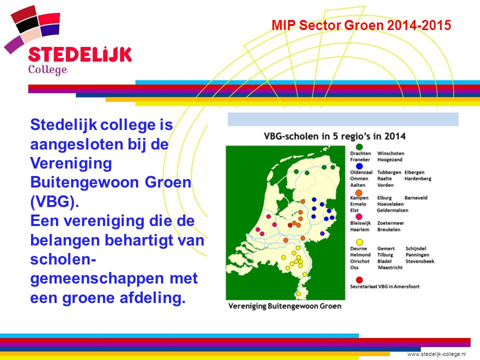 www.stedelijk-college.nl MIP Sector Groen 2014-2015 Samen met andere scholen in Nederland onder begeleiding van de Vereniging Buitengewoon Groen neemt Sector Groen deel aan het Meerjarig Investeringsplan (MIP) investeren in contacten en mensen MIP Project leiders van het Stedelijk College: I.A.M.