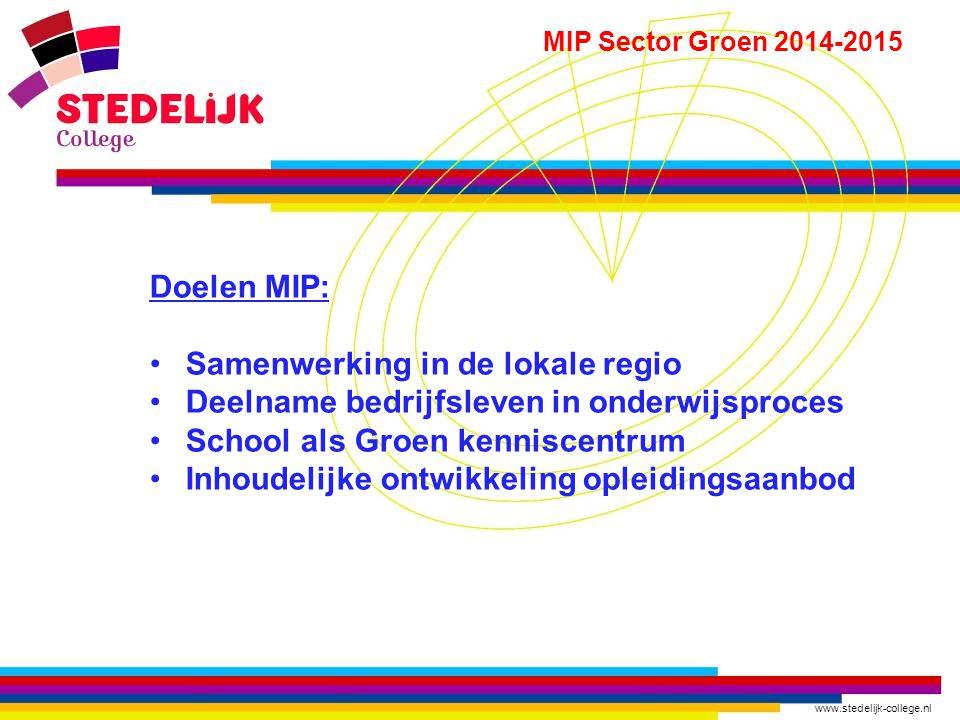 www.stedelijk-college.nl MIP Sector Groen 2014-2015 Doelen MIP: Samenwerking in de lokale regio Deelname bedrijfsleven in onderwijsproces School als G