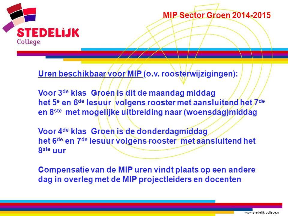 www.stedelijk-college.nl MIP Sector Groen 2014-2015 Hoe gaan de MIP uren eruit zien  In groepjes op de fiets gaan leerlingen naar de verschillende bedrijven  Na afloop gaan leerlingen vanuit het bedrijf zelfstandig naar huis  Begeleiding vindt plaats door de bedrijven