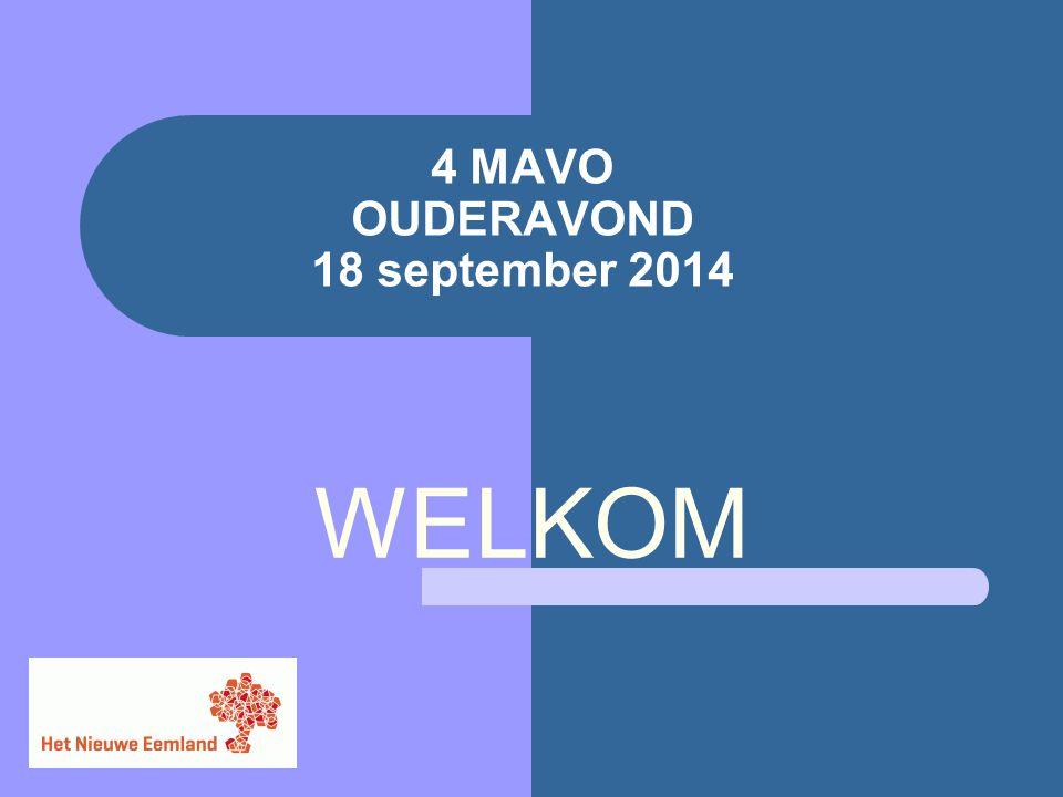 4 MAVO OUDERAVOND 18 september 2014 WELKOM