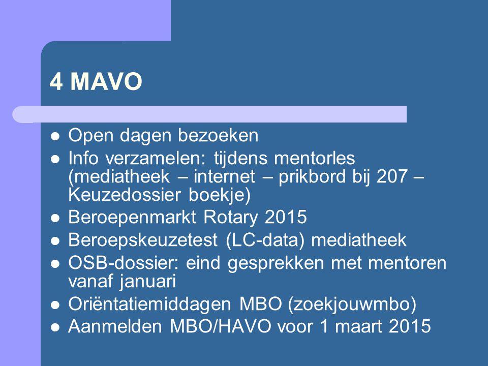 4 MAVO Open dagen bezoeken Info verzamelen: tijdens mentorles (mediatheek – internet – prikbord bij 207 – Keuzedossier boekje) Beroepenmarkt Rotary 2015 Beroepskeuzetest (LC-data) mediatheek OSB-dossier: eind gesprekken met mentoren vanaf januari Oriëntatiemiddagen MBO (zoekjouwmbo) Aanmelden MBO/HAVO voor 1 maart 2015
