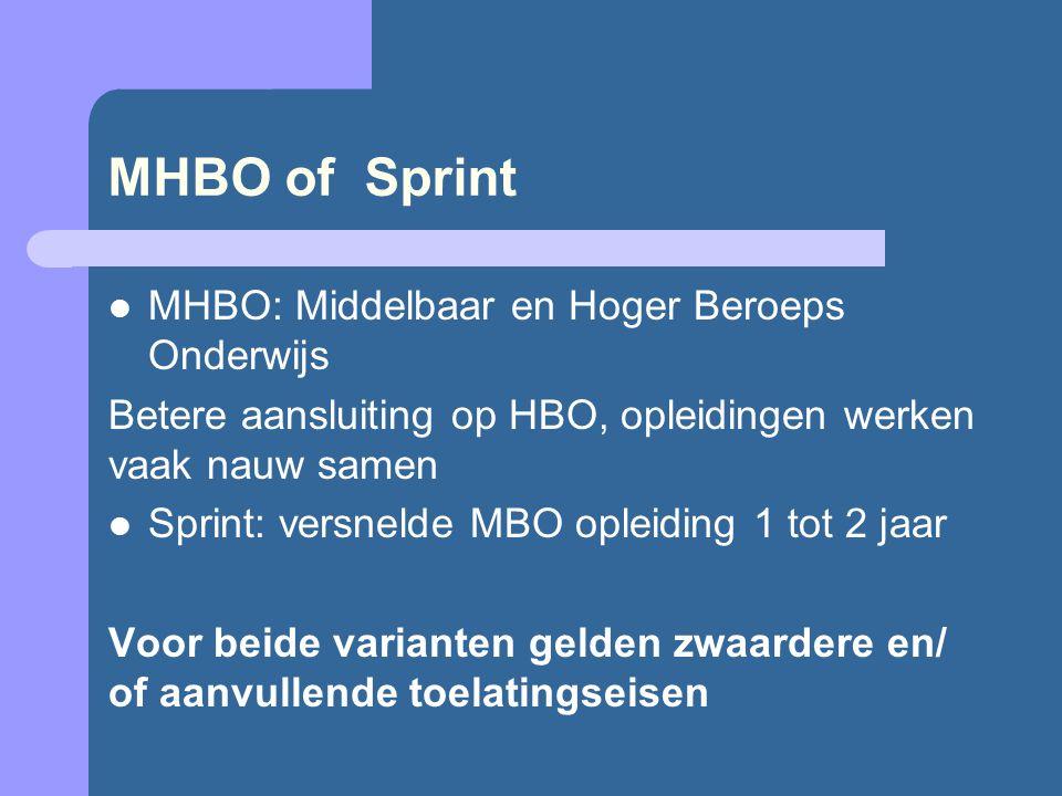 MHBO of Sprint MHBO: Middelbaar en Hoger Beroeps Onderwijs Betere aansluiting op HBO, opleidingen werken vaak nauw samen Sprint: versnelde MBO opleiding 1 tot 2 jaar Voor beide varianten gelden zwaardere en/ of aanvullende toelatingseisen