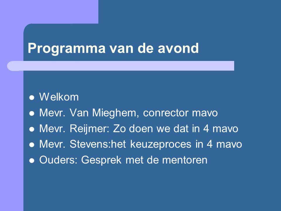 Programma van de avond Welkom Mevr. Van Mieghem, conrector mavo Mevr.