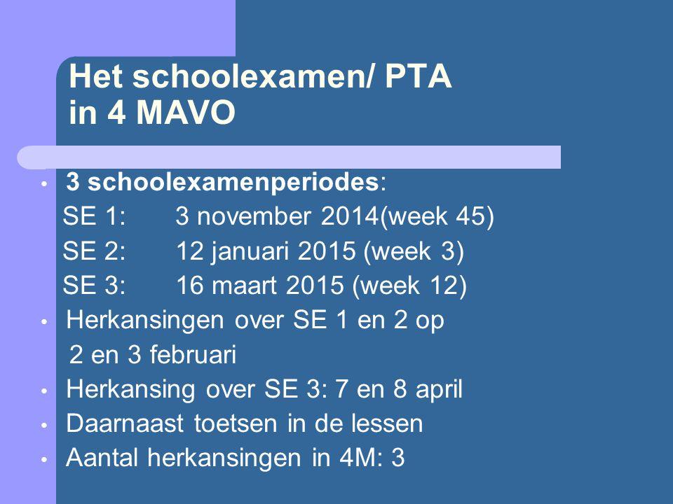 Het schoolexamen/ PTA in 4 MAVO 3 schoolexamenperiodes: SE 1:3 november 2014(week 45) SE 2:12 januari 2015 (week 3) SE 3: 16 maart 2015 (week 12) Herkansingen over SE 1 en 2 op 2 en 3 februari Herkansing over SE 3: 7 en 8 april Daarnaast toetsen in de lessen Aantal herkansingen in 4M: 3