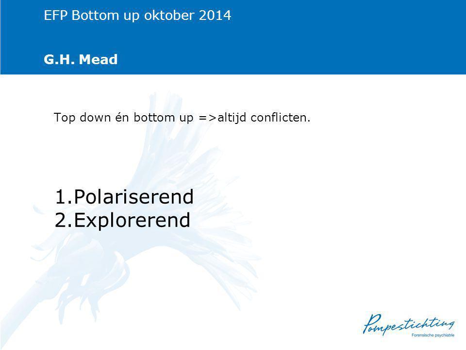 EFP Bottom up oktober 2014 G.H.Mead Top down én bottom up =>altijd conflicten.