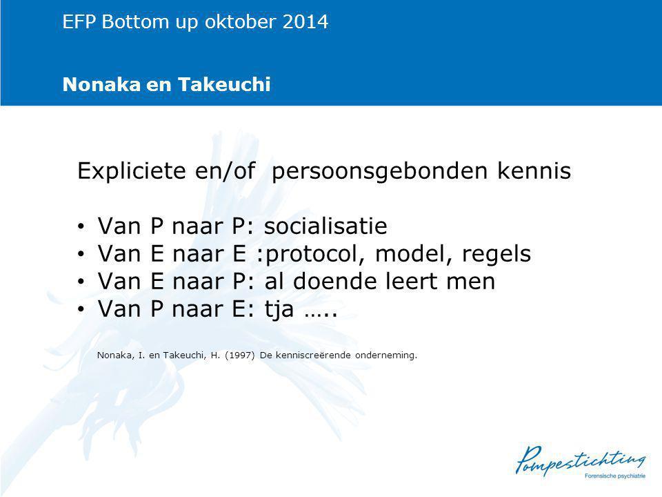 EFP Bottom up oktober 2014 Nonaka en Takeuchi Expliciete en/of persoonsgebonden kennis Van P naar P: socialisatie Van E naar E :protocol, model, regels Van E naar P: al doende leert men Van P naar E: tja …..