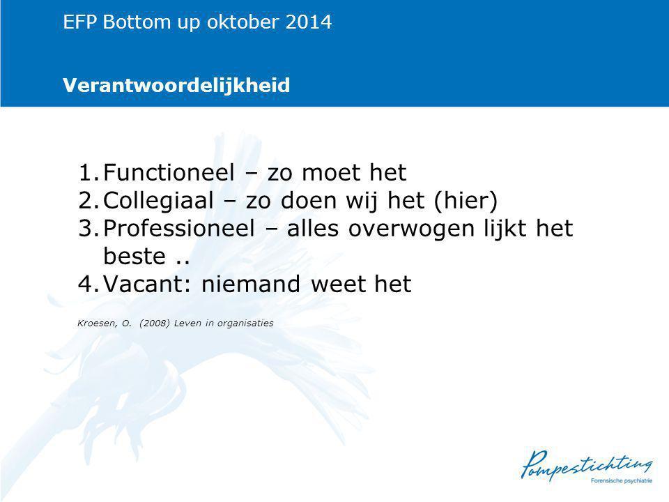EFP Bottom up oktober 2014 Verantwoordelijkheid 1.Functioneel – zo moet het 2.Collegiaal – zo doen wij het (hier) 3.Professioneel – alles overwogen lijkt het beste..
