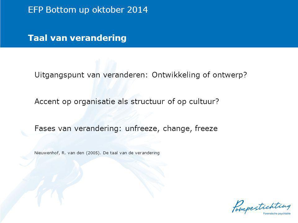 EFP Bottom up oktober 2014 Taal van verandering Uitgangspunt van veranderen: Ontwikkeling of ontwerp.
