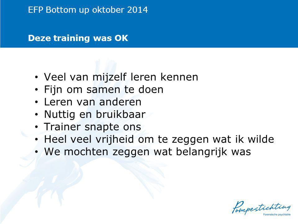 EFP Bottom up oktober 2014 Deze training was OK Veel van mijzelf leren kennen Fijn om samen te doen Leren van anderen Nuttig en bruikbaar Trainer snapte ons Heel veel vrijheid om te zeggen wat ik wilde We mochten zeggen wat belangrijk was