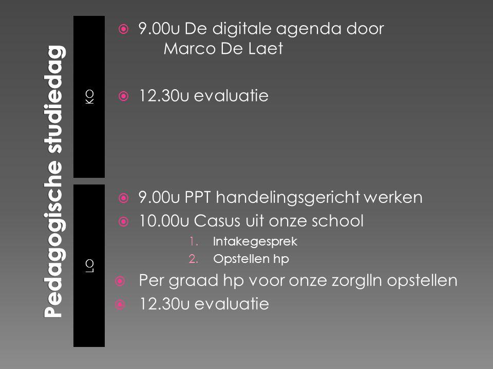 KO LO  9.00u De digitale agenda door Marco De Laet  12.30u evaluatie  9.00u PPT handelingsgericht werken  10.00u Casus uit onze school 1.Intakeges