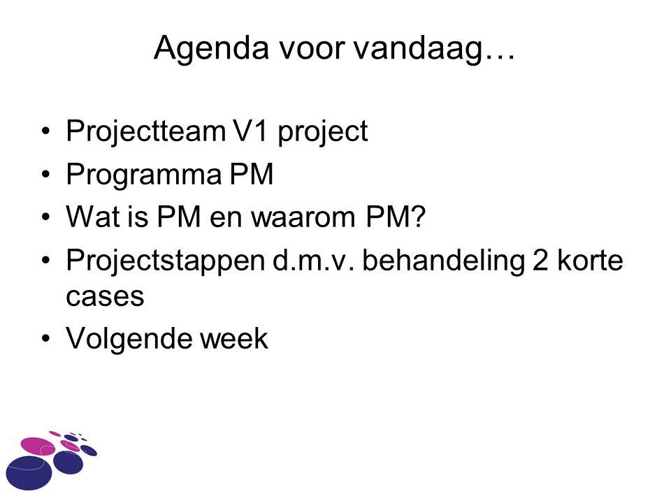 Agenda voor vandaag… Projectteam V1 project Programma PM Wat is PM en waarom PM? Projectstappen d.m.v. behandeling 2 korte cases Volgende week