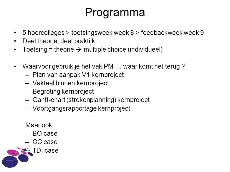 Programma 5 hoorcolleges > toetsingsweek week 8 > feedbackweek week 9 Deel theorie, deel praktijk Toetsing = theorie  multiple choice (individueel) Waarvoor gebruik je het vak PM … waar komt het terug .