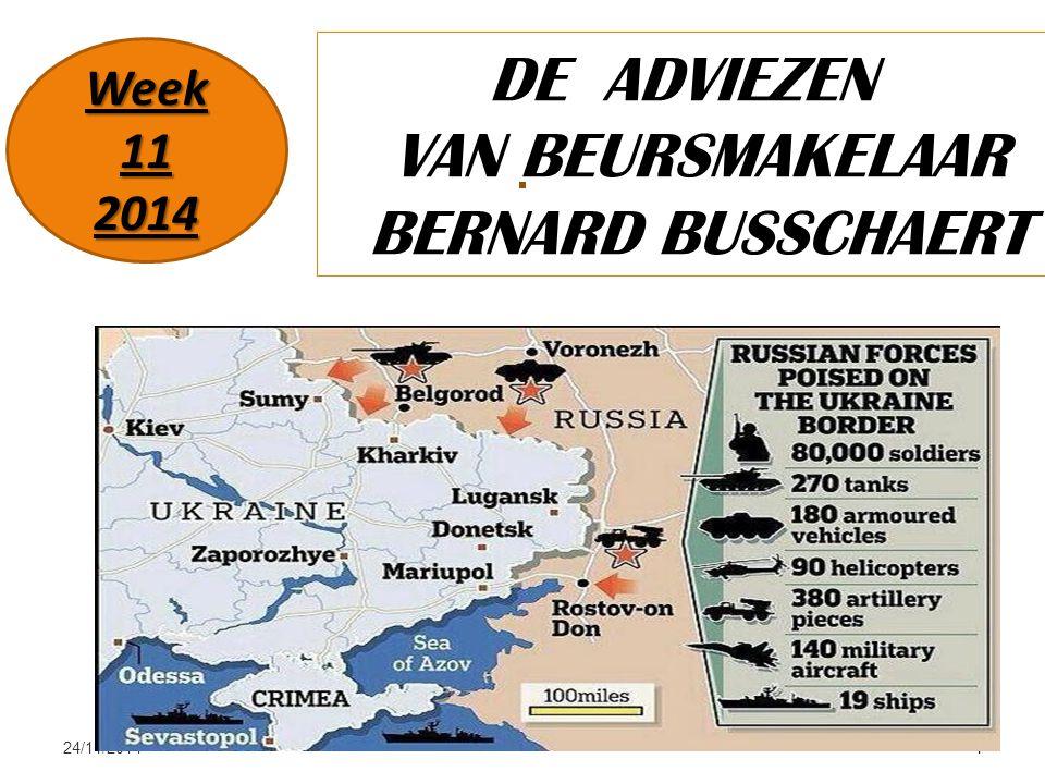24/11/20141 DE ADVIEZEN VAN BEURSMAKELAAR BERNARD BUSSCHAERT Week 11 2014