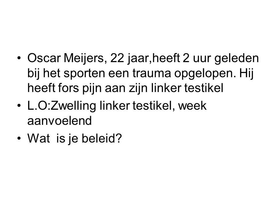 Oscar Meijers, 22 jaar,heeft 2 uur geleden bij het sporten een trauma opgelopen.