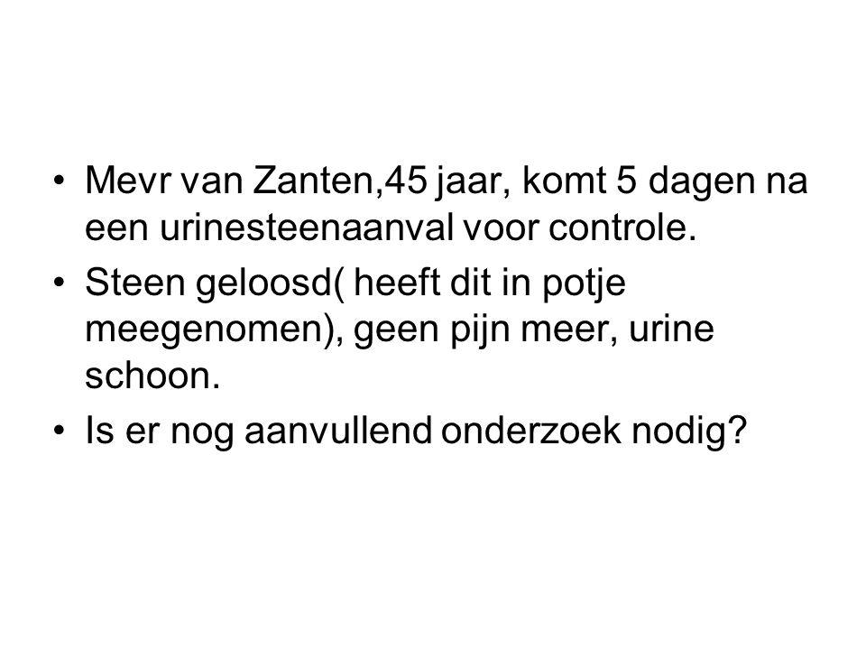 Mevr van Zanten,45 jaar, komt 5 dagen na een urinesteenaanval voor controle.