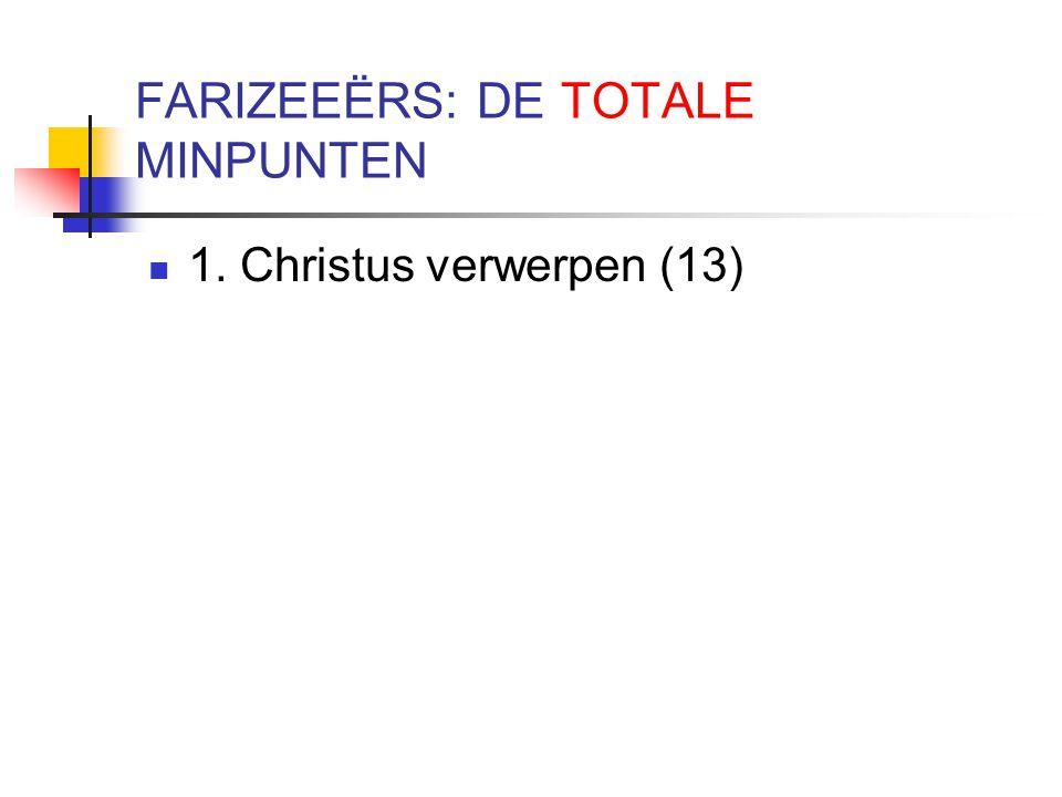 FARIZEEËRS: DE TOTALE MINPUNTEN 1. Christus verwerpen (13)