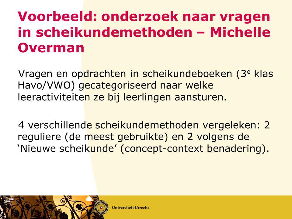 Voorbeeld: onderzoek naar vragen in scheikundemethoden – Michelle Overman Vragen en opdrachten in scheikundeboeken (3 e klas Havo/VWO) gecategoriseerd