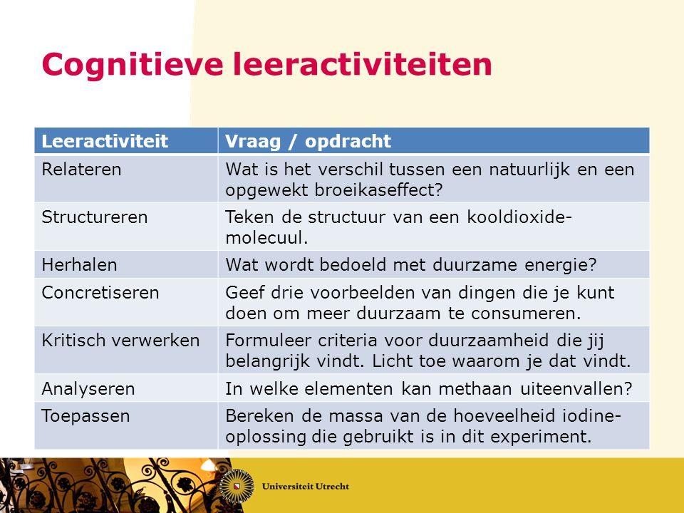 Cognitieve leeractiviteiten LeeractiviteitVraag / opdracht RelaterenWat is het verschil tussen een natuurlijk en een opgewekt broeikaseffect? Structur