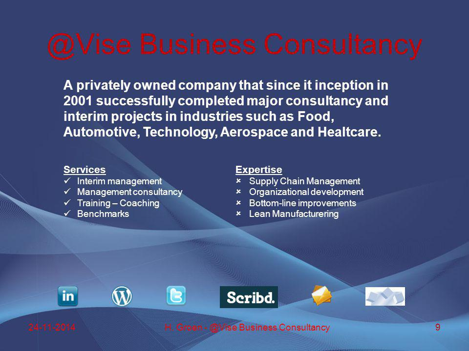 A privately owned company that since it inception in 2001 successfully completed major consultancy and interim projects in industries such as Food, Au