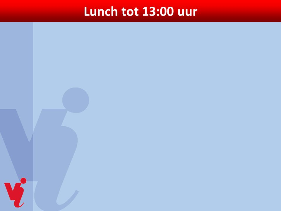 Lunch tot 13:00 uur