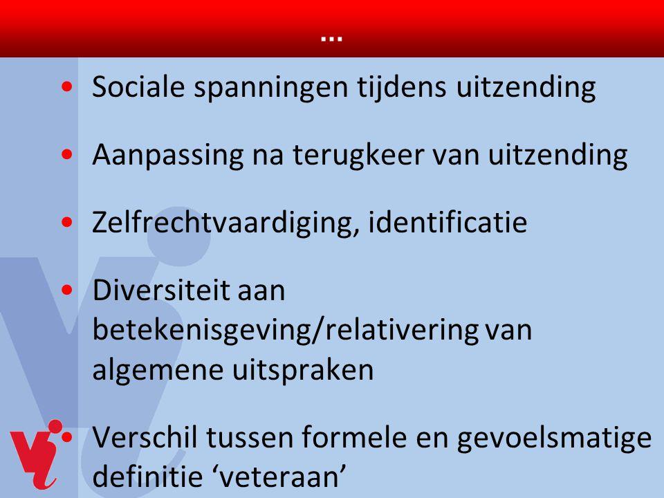 … Sociale spanningen tijdens uitzending Aanpassing na terugkeer van uitzending Zelfrechtvaardiging, identificatie Diversiteit aan betekenisgeving/rela