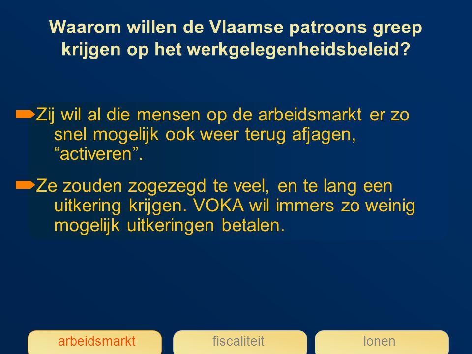 Waarom willen de Vlaamse patroons greep krijgen op het werkgelegenheidsbeleid.