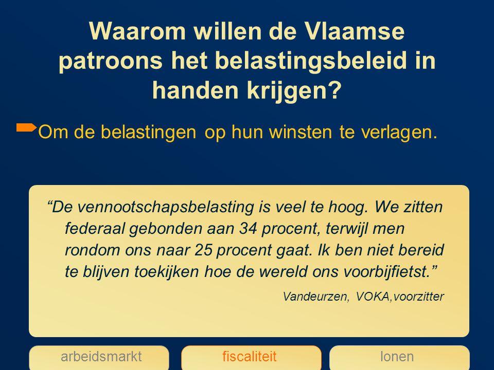 Waarom willen de Vlaamse patroons het belastingsbeleid in handen krijgen.