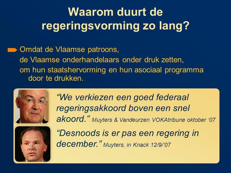 Hoeveel invloed hebben de Vlaamse patroons op de regeringsvorming.