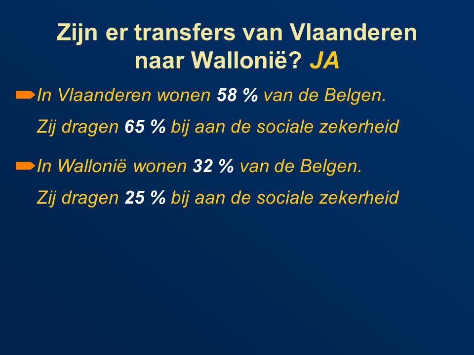 Zijn er transfers van Vlaanderen naar Wallonië. JA In Vlaanderen wonen 58 % van de Belgen.