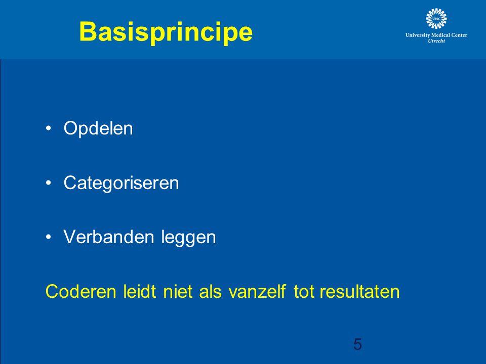 5 Basisprincipe Opdelen Categoriseren Verbanden leggen Coderen leidt niet als vanzelf tot resultaten