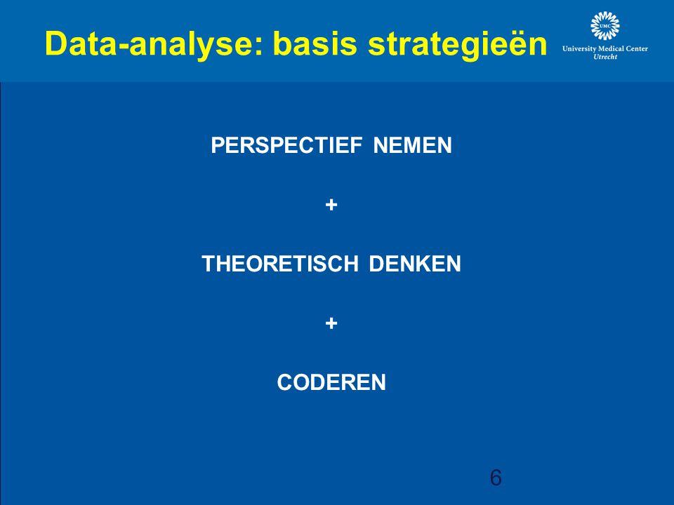 6 Data-analyse: basis strategieën PERSPECTIEF NEMEN + THEORETISCH DENKEN + CODEREN PRESENCE studie