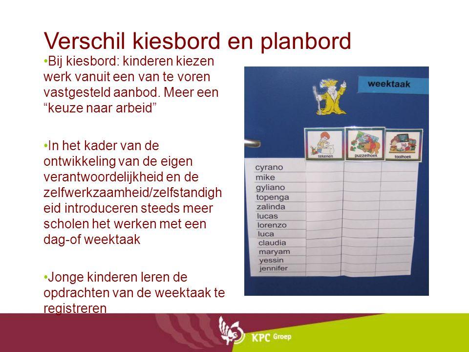 """Verschil kiesbord en planbord Bij kiesbord: kinderen kiezen werk vanuit een van te voren vastgesteld aanbod. Meer een """"keuze naar arbeid"""" In het kader"""