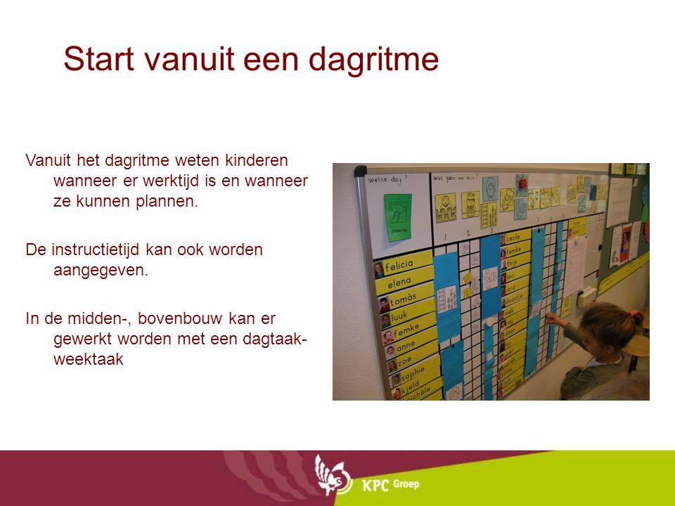 Start vanuit een dagritme Vanuit het dagritme weten kinderen wanneer er werktijd is en wanneer ze kunnen plannen. De instructietijd kan ook worden aan