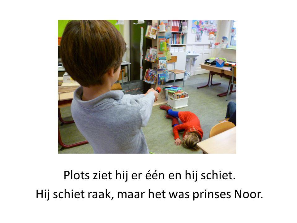Plots ziet hij er één en hij schiet. Hij schiet raak, maar het was prinses Noor.