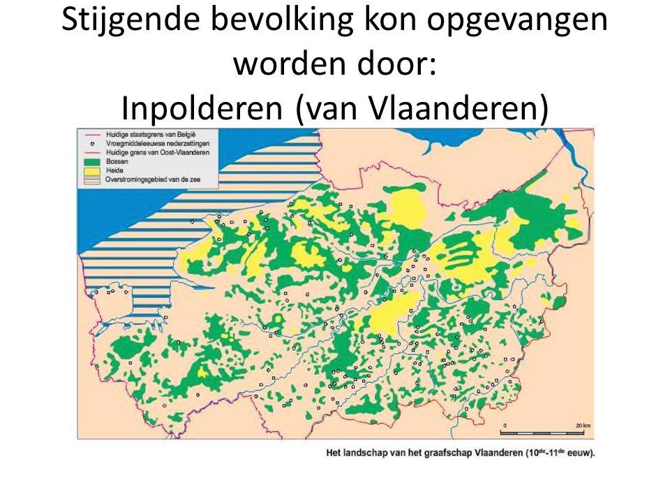 Stijgende bevolking kon opgevangen worden door: Inpolderen (van Vlaanderen)