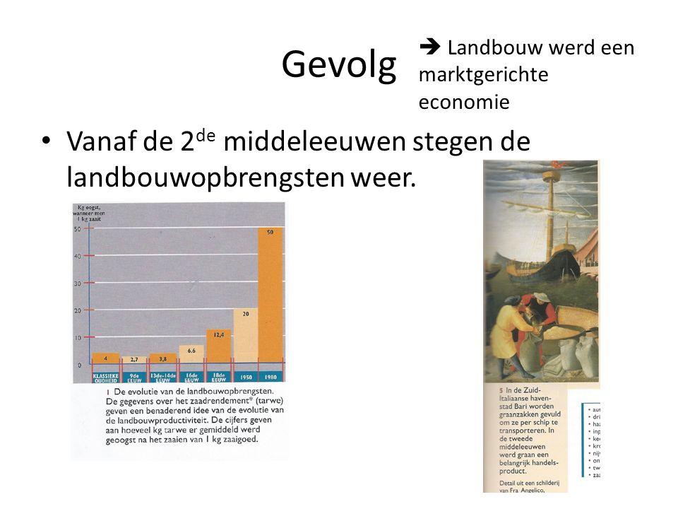Gevolg Vanaf de 2 de middeleeuwen stegen de landbouwopbrengsten weer.  Landbouw werd een marktgerichte economie