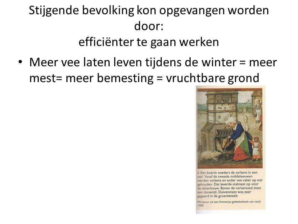 Stijgende bevolking kon opgevangen worden door: efficiënter te gaan werken Meer vee laten leven tijdens de winter = meer mest= meer bemesting = vrucht