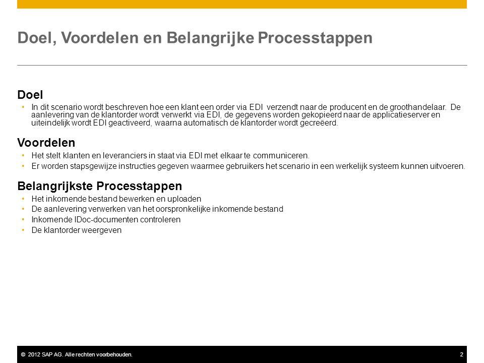 ©2012 SAP AG. Alle rechten voorbehouden.2 Doel, Voordelen en Belangrijke Processtappen Doel In dit scenario wordt beschreven hoe een klant een order v