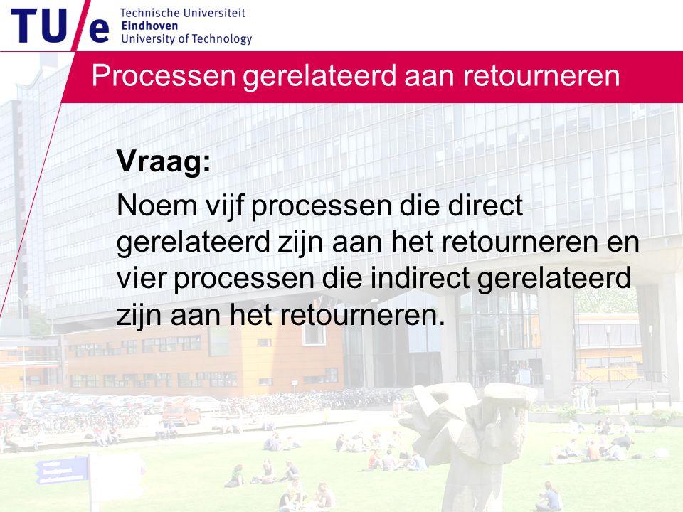 Processen gerelateerd aan retourneren Vraag: Noem vijf processen die direct gerelateerd zijn aan het retourneren en vier processen die indirect gerelateerd zijn aan het retourneren.