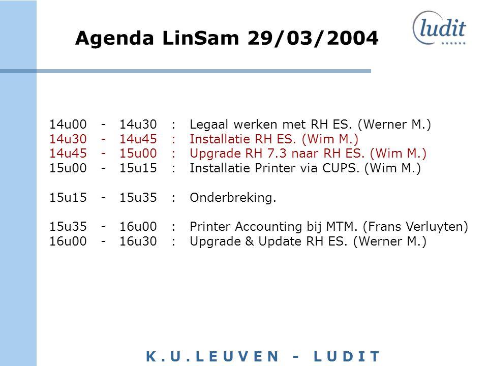 K. U. L E U V E N - L U D I T Agenda LinSam 29/03/2004 14u00 - 14u30 : Legaal werken met RH ES. (Werner M.) 14u30 - 14u45 : Installatie RH ES. (Wim M.