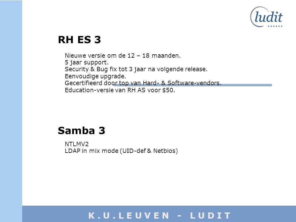 K. U. L E U V E N - L U D I T RH ES 3 Nieuwe versie om de 12 – 18 maanden. 5 jaar support. Security & Bug fix tot 3 jaar na volgende release. Eenvoudi