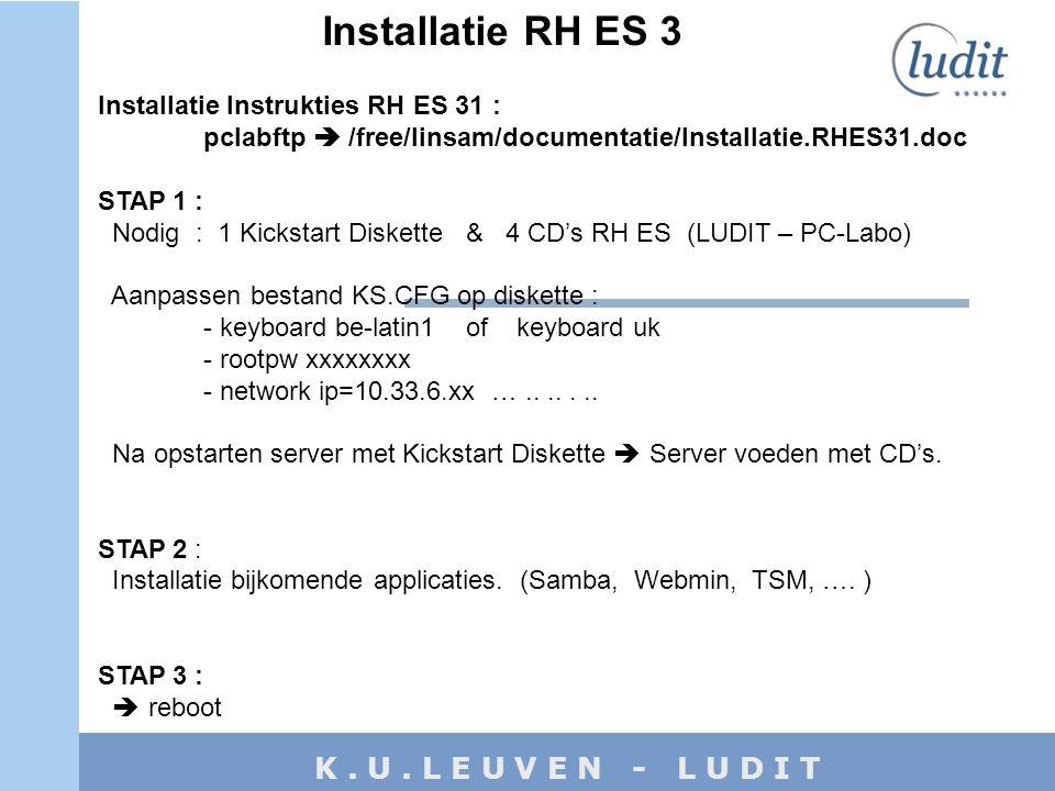 K. U. L E U V E N - L U D I T Installatie RH ES 3 Installatie Instrukties RH ES 31 : pclabftp  /free/linsam/documentatie/Installatie.RHES31.doc STAP